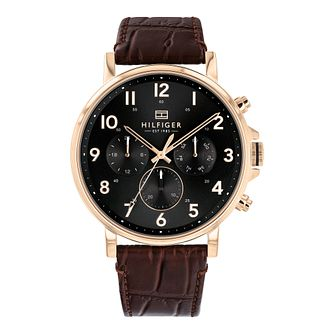 Tommy Hilfiger Daniel Men's Black Leather Strap Watch - Product number 3395405