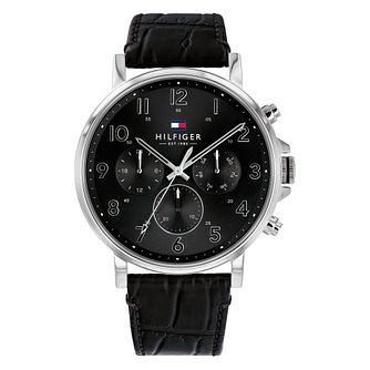 Tommy Hilfiger Daniel Men's Black Leather Strap Watch - Product number 3395413