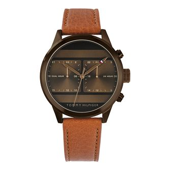 Tommy Hilfiger Icon Men's Brown Leather Strap Watch - Product number 3395634