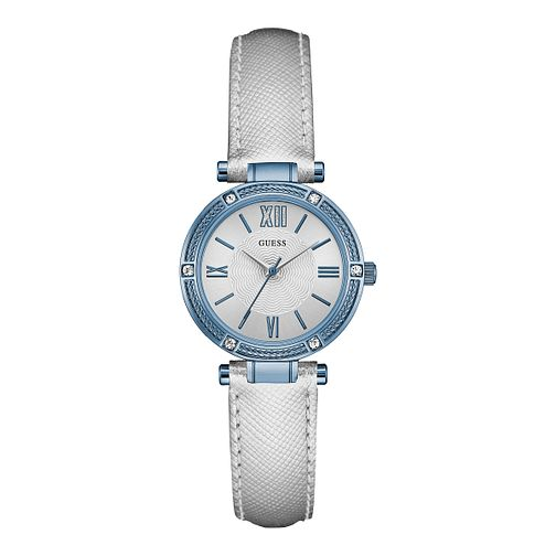 Guess Ladies' Crystal Set Silver Leather Strap Watch - Product number 3396673