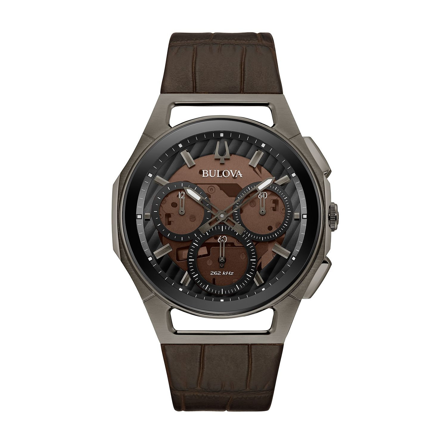 Bulova Curv Men's Brown Leather Strap Watch - Product number 3397238