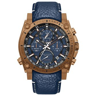 Bulova Precisionist Men's Blue Leather Strap Watch - Product number 3397432