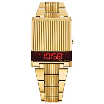 Bulova Computron Men's Yellow Gold Tone Bracelet Watch - Product number 3398293