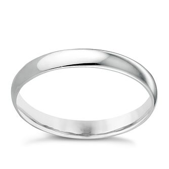 9ct White Gold 3mm Extra Heavy D Shape Ring - Product number 3398595