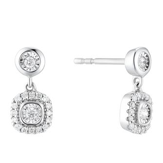 9ct White Gold 0.15ct Diamond Drop Earrings - Product number 3399699