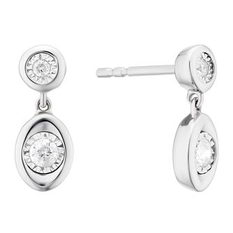 9ct White Gold 0.12ct Illusion Set Diamond Drop Earrings - Product number 3399710