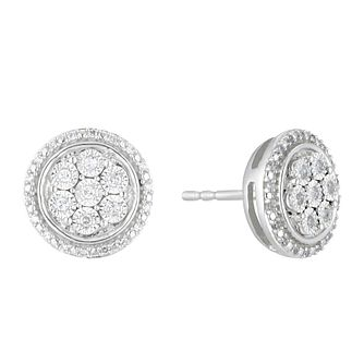 Sterling Silver 0.12ct Illusion Set Diamond Round Earrings - Product number 3399729