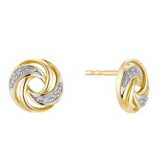 9ct Yellow Gold Diamond Swirl Stud Earrings - Product number 3399737