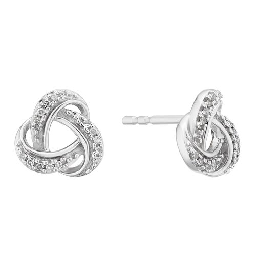 9ct White Gold Diamond Knot Stud Earrings - Product number 3399753