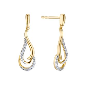 9ct Yellow Gold Diamond Swirl Drop Earrings - Product number 3399818