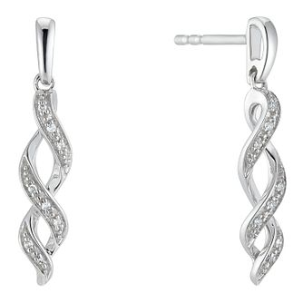 9ct White Gold Diamond Twist Drop Earrings - Product number 3399834