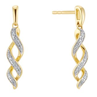 9ct Yellow Gold Diamond Twist Drop Earrings - Product number 3399842