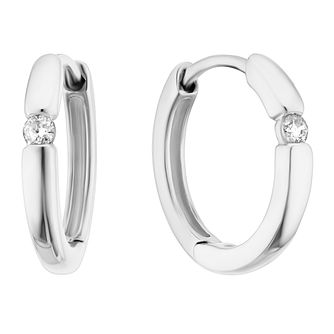 9ct White Gold Diamond Single Stone Hoop Earrings - Product number 3399850