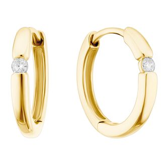 9ct Yellow Gold Diamond Single Stone Hoop Earrings - Product number 3399869