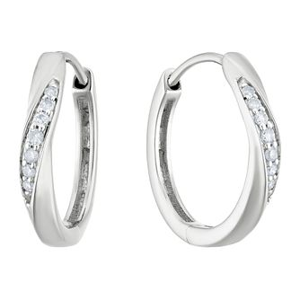 9ct White Gold 1/10ct Diamond Wave Hoop Earrings - Product number 3399877