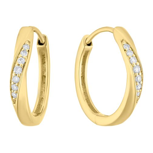 9ct Yellow Gold 1/10ct Diamond Wave Hoop Earrings - Product number 3399885