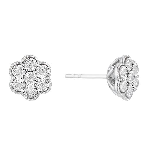 Sterling Silver 1/10ct Illusion Set Diamond Flower Earrings - Product number 3399893