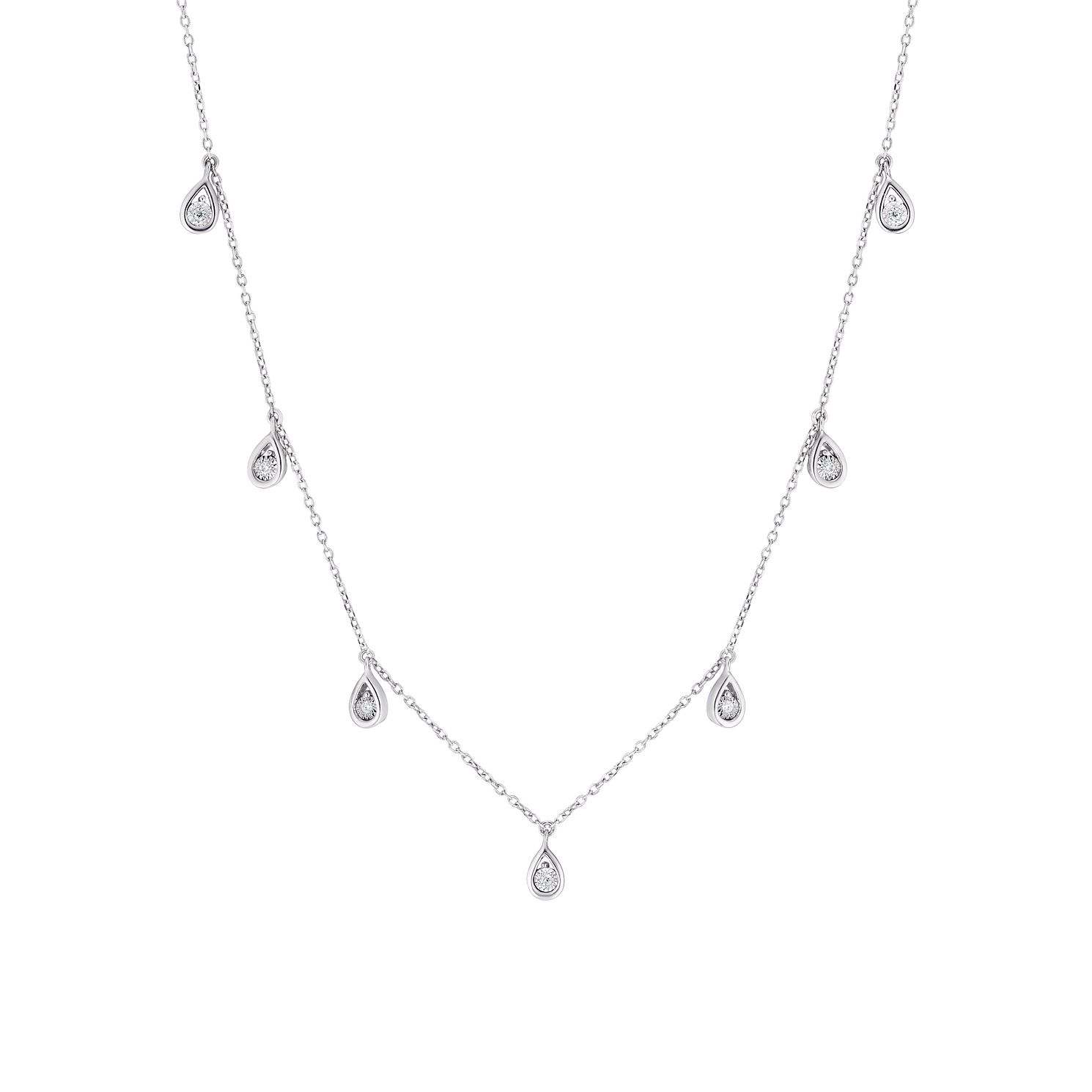 Sterling Silver Diamond Pear Necklace - Product number 3399907