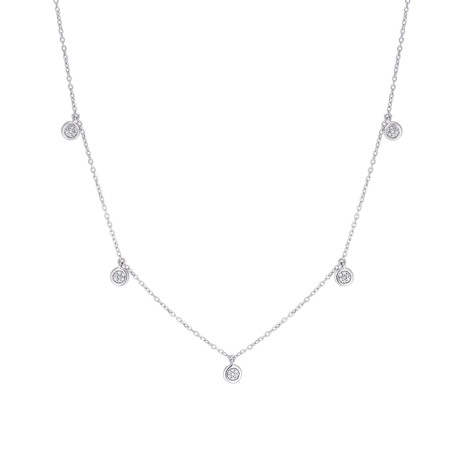 Sterling Silver Diamond Round Necklace - Product number 3399915