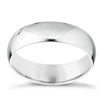 18ct White Gold 4mm Extra Heavy D Shape Ring - Product number 3399966