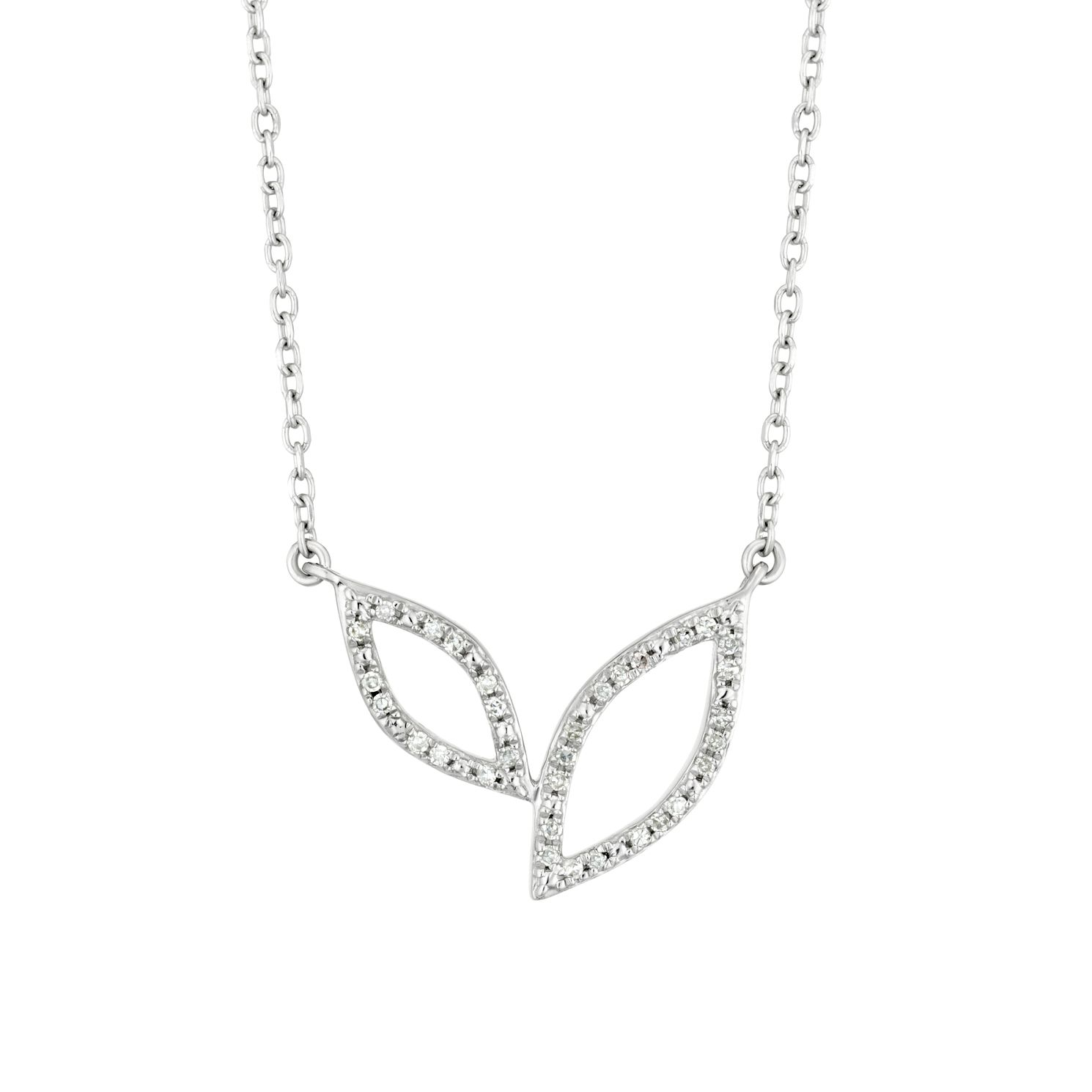 Sterling Silver Diamond Two Leaf Necklace - Product number 3399974