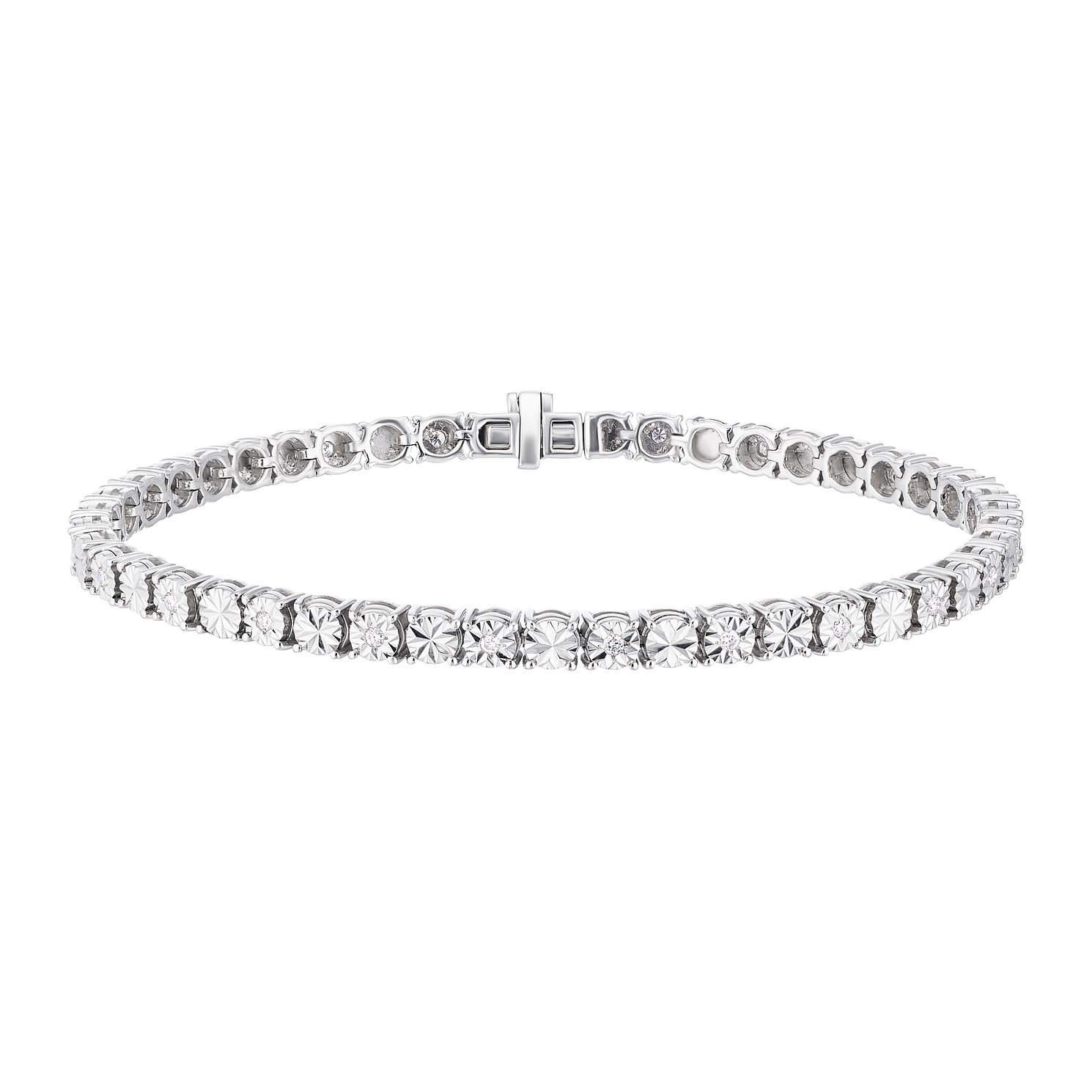 Sterling Silver 0.25ct Illusion Set Diamond Tennis Bracelet - Product number 3400018