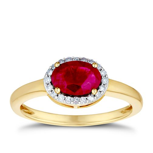 9ct Yellow Gold Ruby & 1/10ct Diamond Halo Ring - Product number 3400042