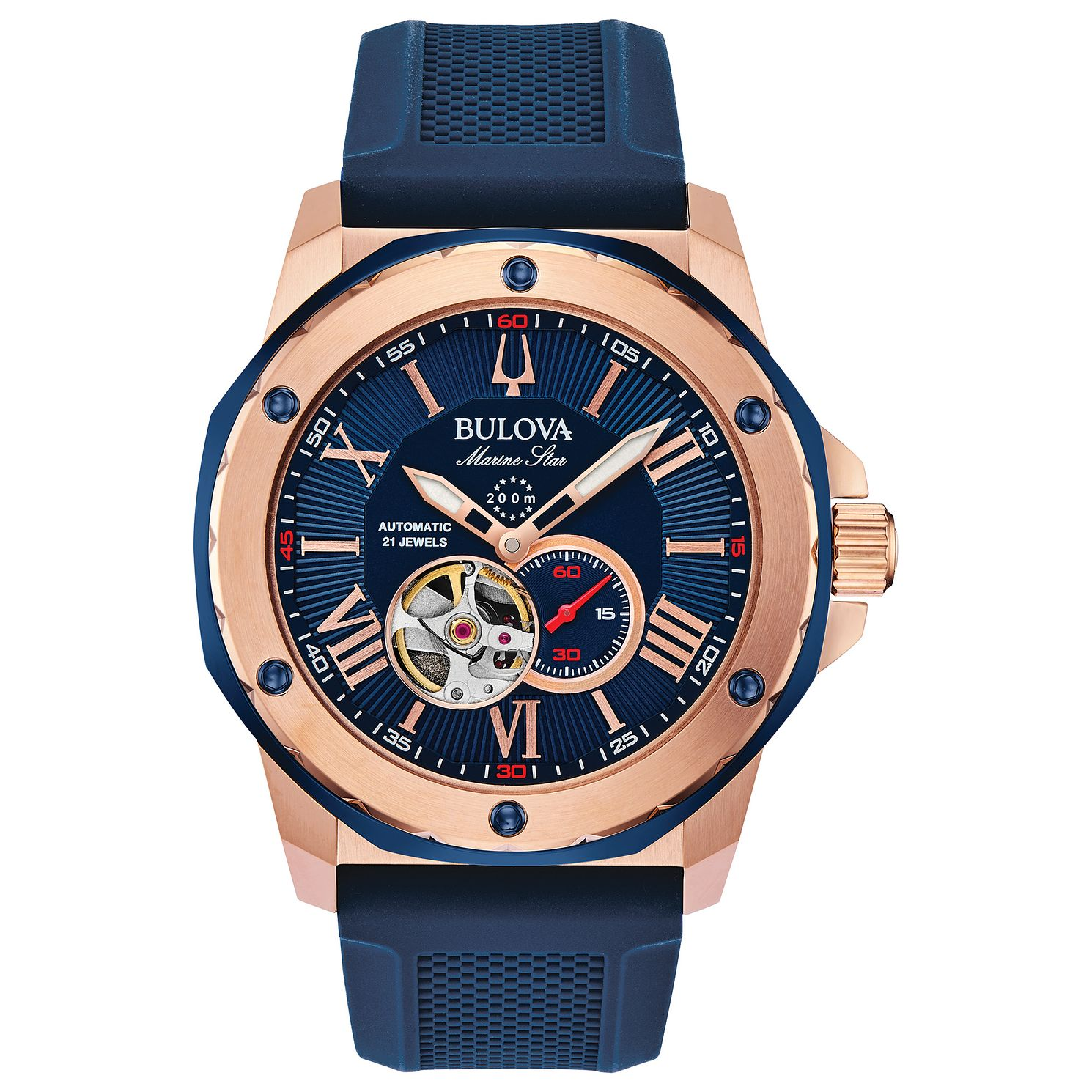 Bulova Marine Star Men's Blue Silicone Strap Watch - Product number 3400131