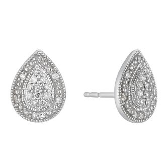 9ct White Gold 0.15ct Diamond Pear Stud Earrings - Product number 3400247