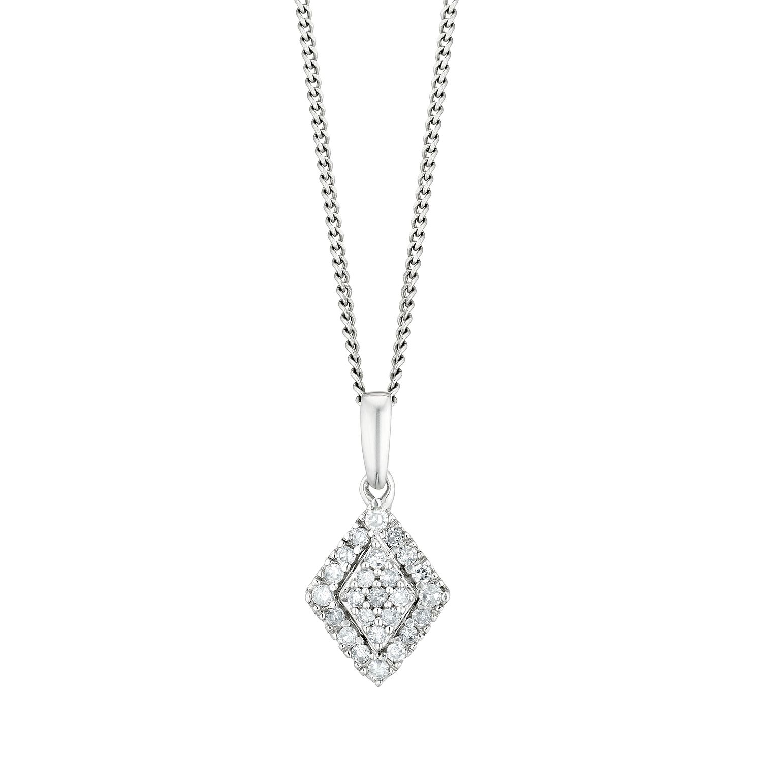 Sterling Silver 1/10ct Diamond Rhombus Pendant - Product number 3400263