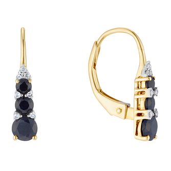 9ct Yellow Gold Black Sapphire & Diamond Drop Earrings - Product number 3400409