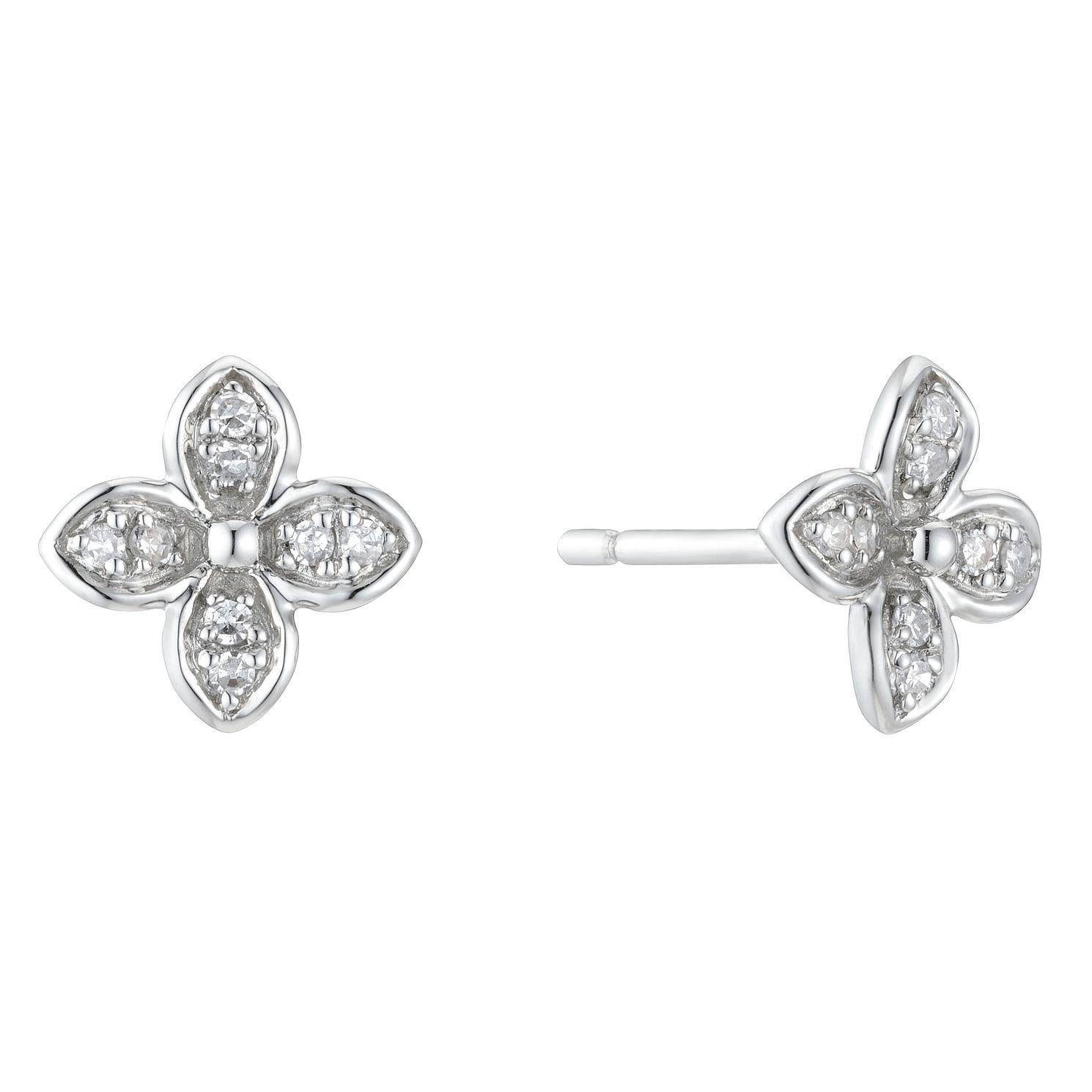 9ct White Gold Diamond Flower Stud Earrings - Product number 3400417