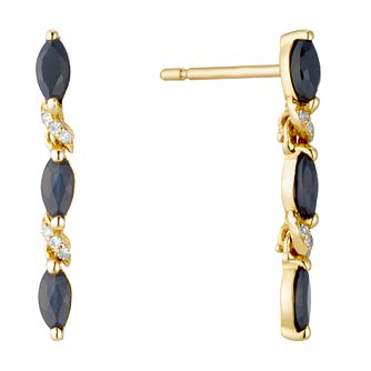 9ct Yellow Gold Sapphire & Diamond Drop Earrings - Product number 3400425