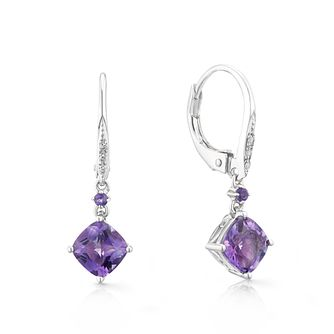 Sterling Silver Amethyst & Diamond Drop Earrings - Product number 3400433