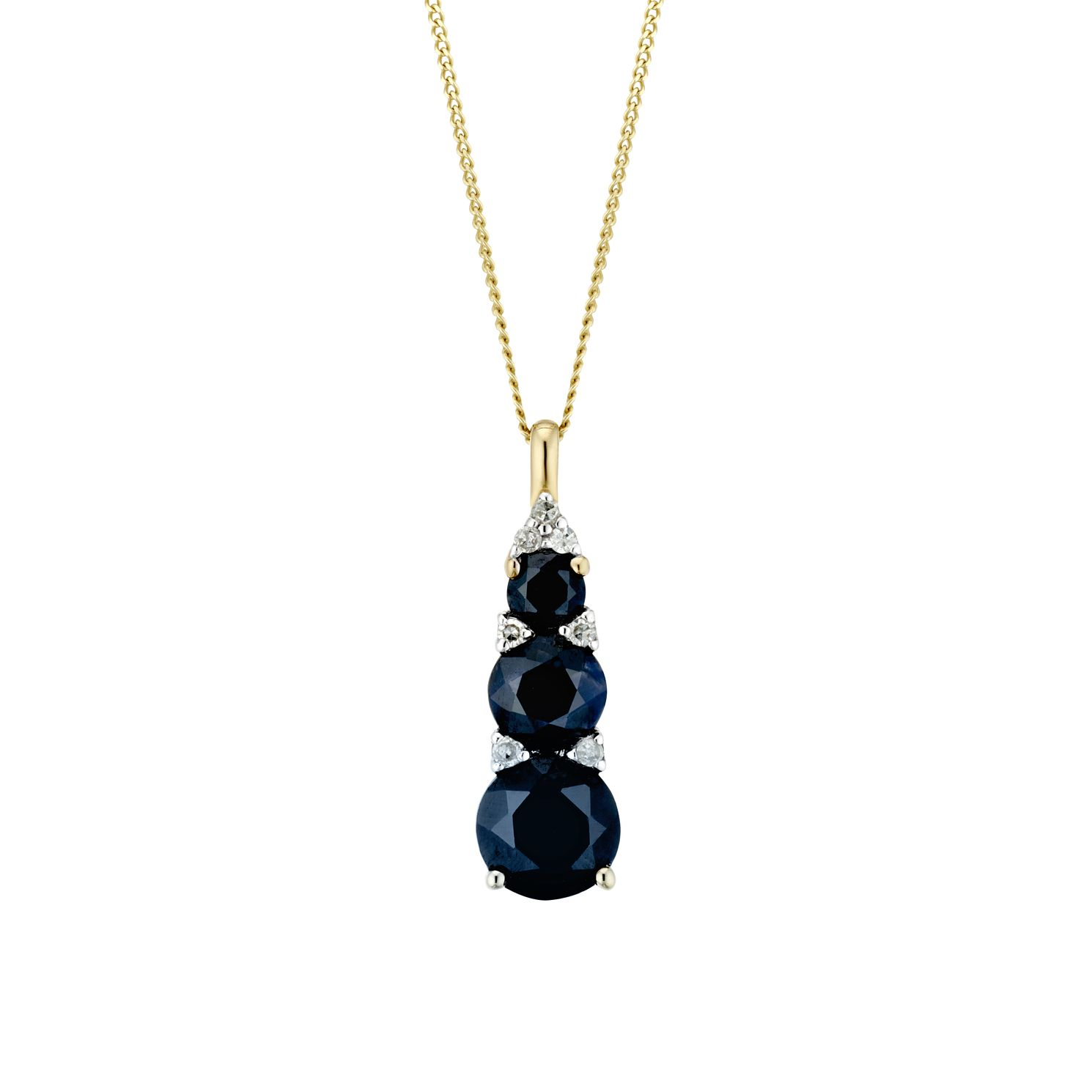 9ct Yellow Gold Black Sapphire & Diamond Pendant - Product number 3400441