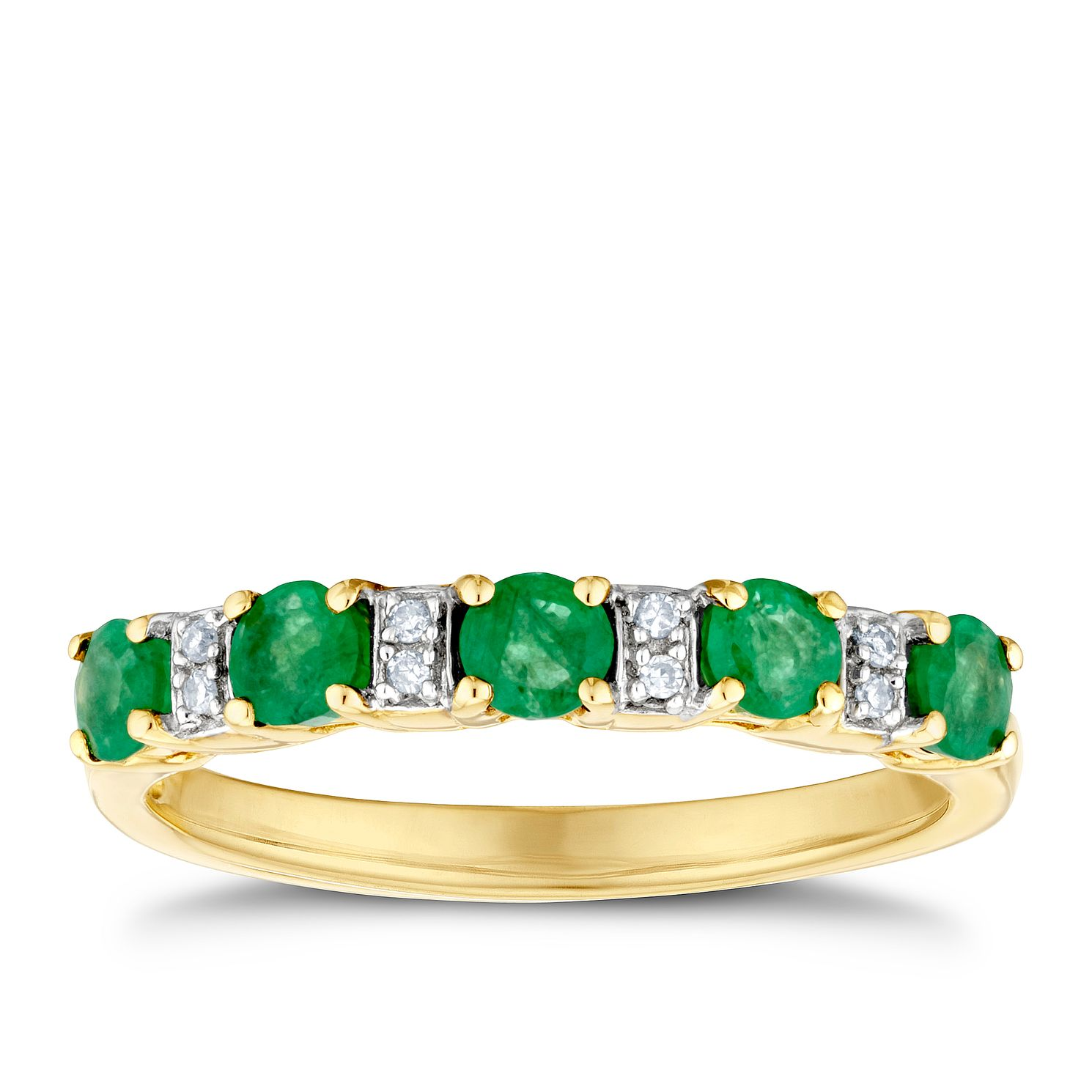 9ct Yellow Gold Emerald & Diamond Ring - Product number 3400476