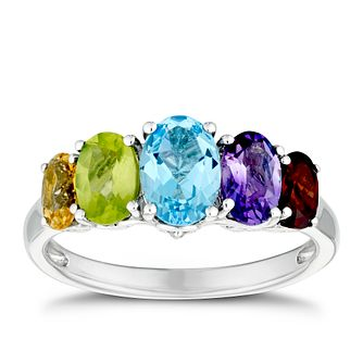 Sterling Silver Multi Gemstone & Diamond Ring - Product number 3400662