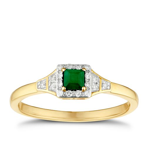 9ct Yellow Gold Square Emerald & Diamond Ring - Product number 3400816