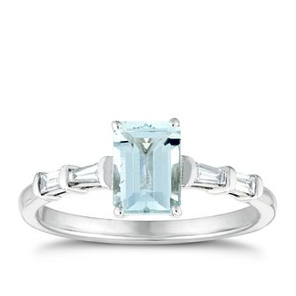 9ct White Gold Baguette Aquamarine & 0.12ct Diamond Ring - Product number 3400972