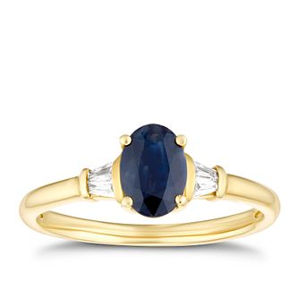 9ct Yellow Gold Oval Sapphire & Baguette Diamond Ring - Product number 3401138