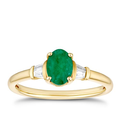 9ct Yellow Gold Oval Emerald & Baguette Diamond Ring - Product number 3401278