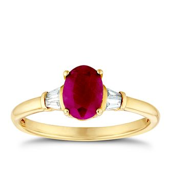 9ct Yellow Gold Oval Ruby & Baguette Diamond Ring - Product number 3401413