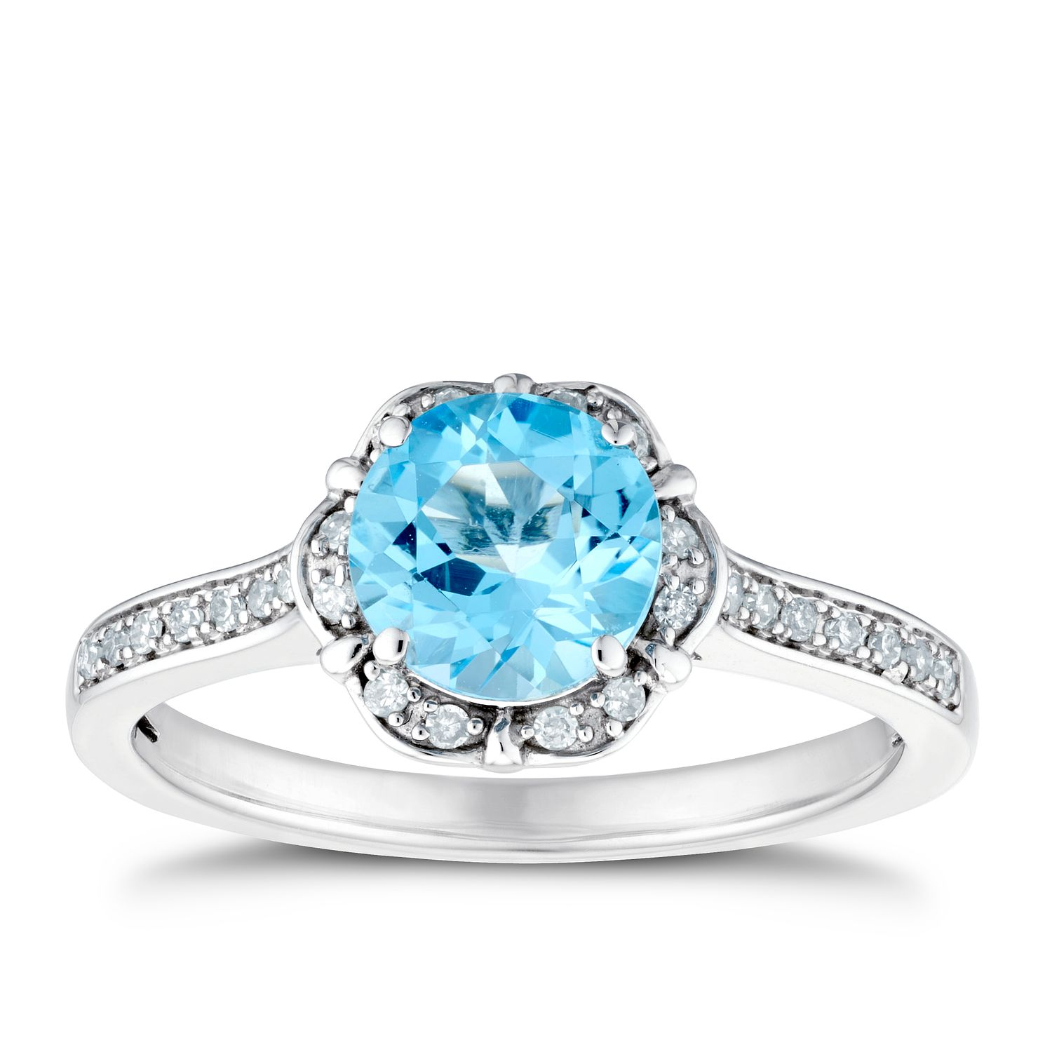 9ct White Gold Flower Blue Topaz & Diamond Ring - Product number 3401545