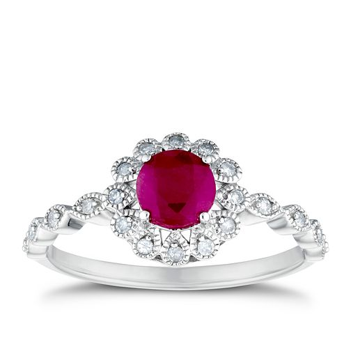 9ct White Gold Milgrain Ruby & 1/10ct Diamond Ring - Product number 3401715