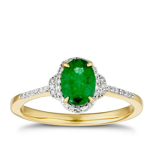 9ct Yellow Gold Oval Emerald & 1/10ct Diamond Ring - Product number 3401944