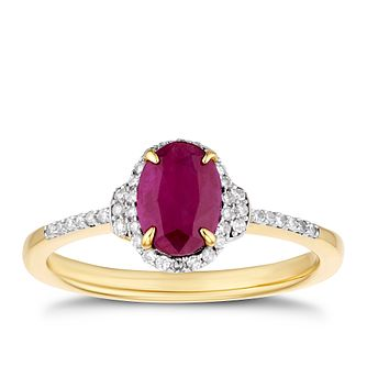 9ct Yellow Gold Oval Ruby & 1/10ct Diamond Halo Ring - Product number 3402126