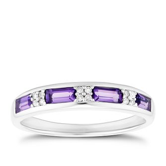 Sterling Silver Amethyst & Diamond Eternity Ring - Product number 3402266