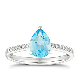 9ct White Gold Pear Swiss Blue Topaz & Diamond Ring - Product number 3402606
