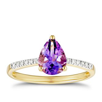 9ct Yellow Gold Pear Amethyst & Diamond Ring - Product number 3402800
