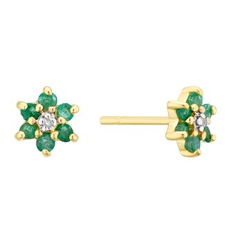 9ct Yellow Gold Emerald & Diamond Flower Stud Earrings - Product number 3403459